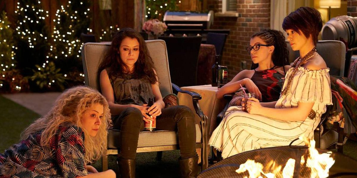 From left, Tatiana Maslany, Tatiana Maslany, Tatiana Maslany, and Tatiana Maslany in Orphan Black