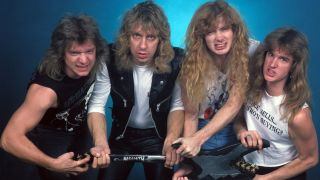 A picture of Chris Poland with Megadeth in 1986