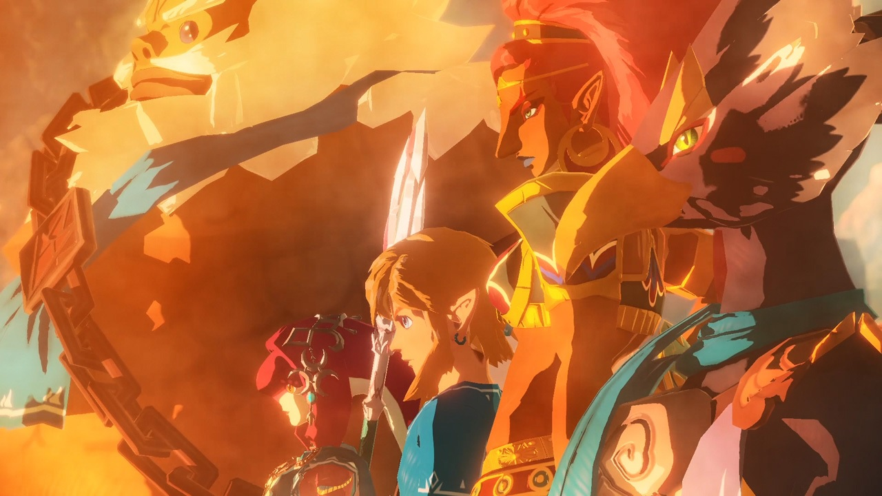 Link from Hyrule Warriors: Age of Calamity standing alongside the other Champions