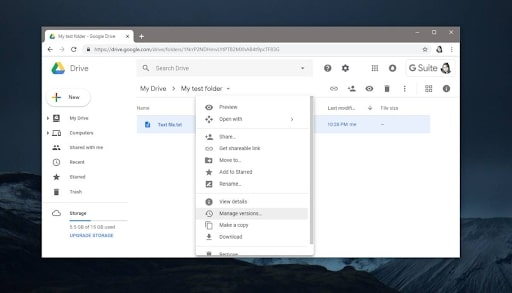 Google Drive's interface in use
