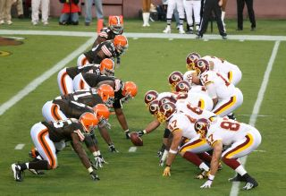 The Washington Redskins (shown here defending against the Cleveland Browns in 2008) have been a flashpoint for the controversy surrounding Native American mascots.