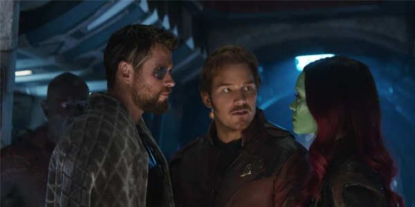 Star-Lord between Thor and Gamora