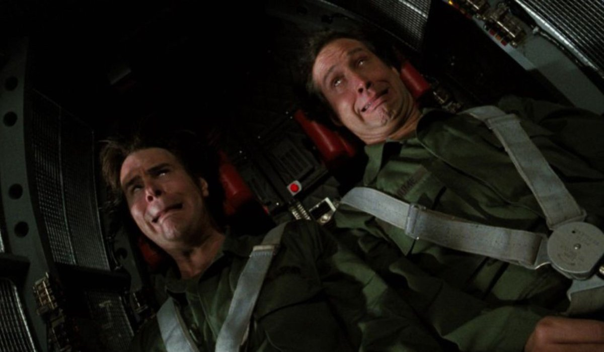 Spies Like Us Dan Aykroyd and Chevy Chase undergoing G-force tests