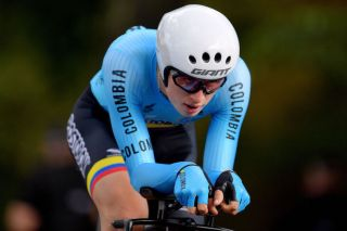 Colombia's Germán Darío Gómez in the junior men's time trial at the 2019 World Championships, three days before his unfortunate mechanical during the road race