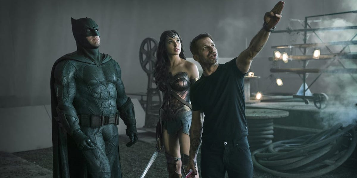 Batman, Wonder Woman and Zack Snyder on set of Justice League
