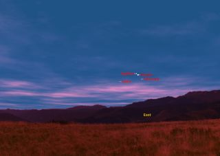 This sky map shows how the bright planets Venus and Jupiter will converge in the early morning sky on May 10, 2011 just before sunrise. This graphic shows the sky at approximately 5:45 a.m. from mid-northern latitudes. The planets Mercury and Mars (noted)