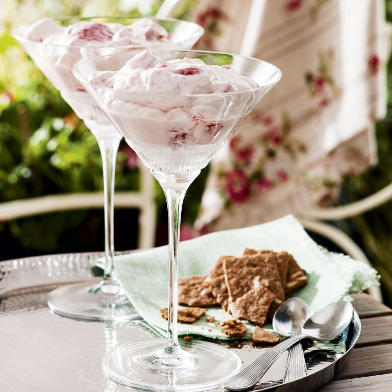 Strawberry and Rhubarb fool - light desserts - summer recipes - woman&home July 2013