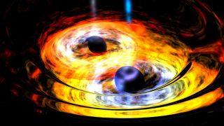 An artist's depiction of merging black holes.