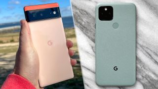 Google Pixel 6 (left) and Pixel 5 (right). The rear of each phone is shown.
