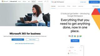 Microsoft 365 vs Google Workspace (homepages)