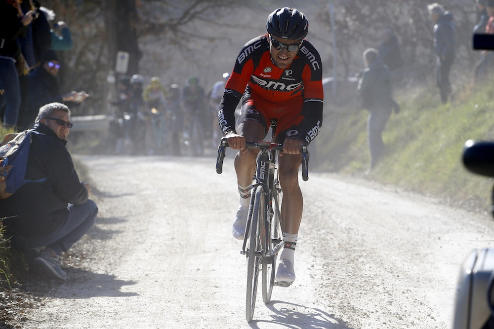 Thumbnail: Greg Van Avermaet attacks off the front in the last 20km (Watson).