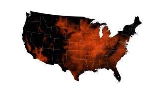 Heat wave map in early July, 2012.