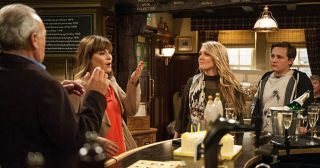 Just as Chrissie White gives Rebecca White her present Lachlan White publicly tells his Mum she was sleeping with Robert. Chrissie and Rebecca fight and as they argue, Rebecca points out they aren't really sisters in Emmerdale.