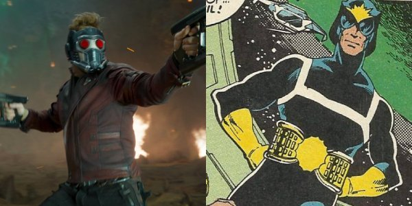 Chris Pratt's Star-Lord next to his interplanetary policeman persona from the comics