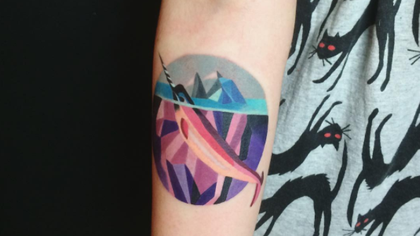 Colourful geometric tattoo