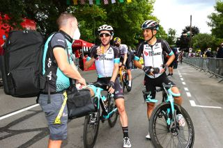 FOUGERES FRANCE JUNE 29 Simon Yates of The United Kingdom Esteban Chaves of Colombia and Team BikeExchange at arrival during the 108th Tour de France 2021 Stage 4 a 1504km stage from Redon to Fougres LeTour TDF2021 on June 29 2021 in Fougeres France Photo by Michael SteeleGetty Images