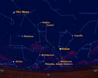 A sky map showing the location of super-bright Venus in late April 2012.