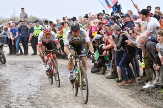 ROUBAIX, FRANCE - APRIL 08: Peter Sagan of Slovakia and Team Bora - Hansgrohe / Silvan Dillier of Switzerland and Team AG2R La Mondiale / during the 116th Paris to Roubaix 2018 a 257km race from Compiegne to Roubaix on April 8, 2018 in Roubaix, France. (Photo Pool bp by Tim de Waele/Getty Images)