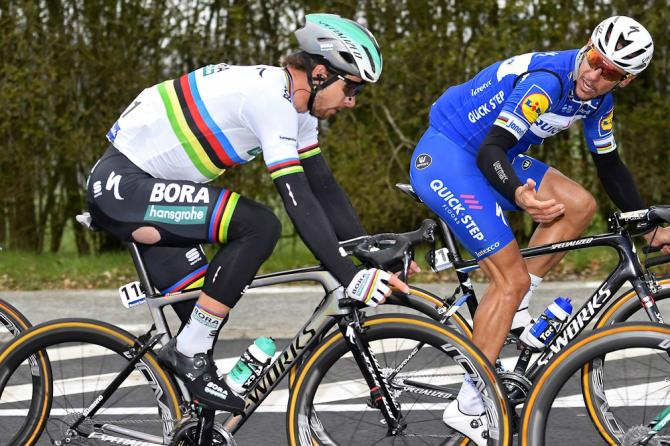 Peter Sagan (Bora - Hansgrohe) and Philippe Gilbert (Quick-Step - Floors) at E3 Harelbeke