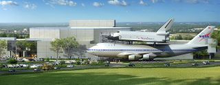 "Artist concept of the new ""The Shuttle and 747 Carrier"" exhibit to open at Space Center Houston in 2015."