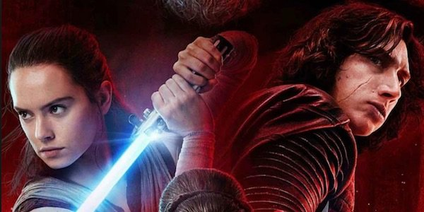 Rey and Kylo in Last Jedi poster