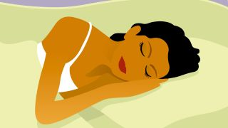 Sleep facts and myths: An illustration of a woman with dark hair sleeping on her hand on a white pillow
