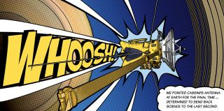 A spacecraft with a long WHOOSH spelled out behind it in comic-book style