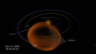 Still from NASA video showing the fields of view of NASA's STEREO spacecraft during a December 2008 coronal mass ejection.