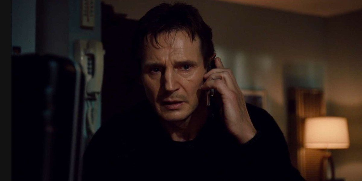 Bryan Mills (Liam Neeson) looks stressed in 'Taken'