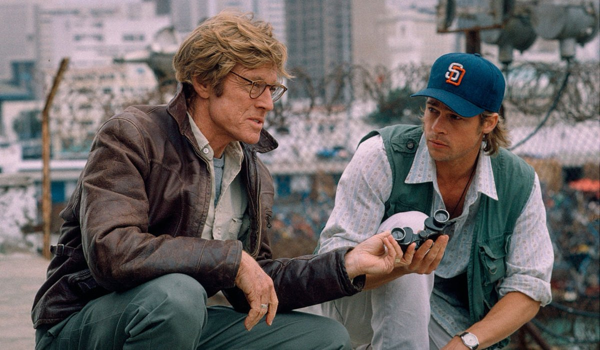 Spy Game Robert Redford and Brad Pitt staking out a target