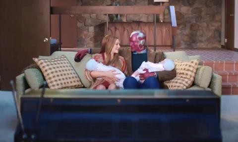 Wanda (Elizabeth Olson) and Vision (Paul Bettany) in 'WandaVision.'