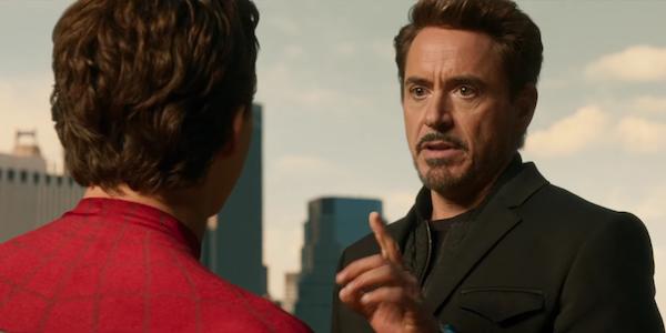 Tony Stark admonishing Peter Parker