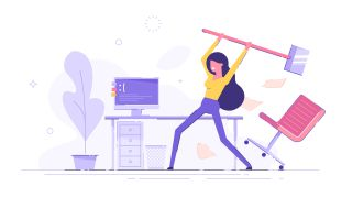 Cartoon einer Frau, die ihren PC mit einem Hammer zerstört