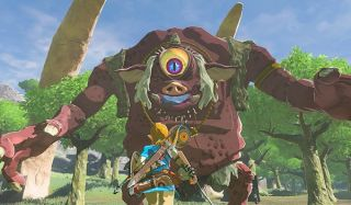 Link facing monster in Breath of the Wild DLC