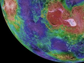 This hemispheric view of Venus was created using more than a decade of radar investigations culminating in the 1990-1994 Magellan mission, and is centered on the planet's North Pole. This composite image was processed to improve contrast and to emphasize