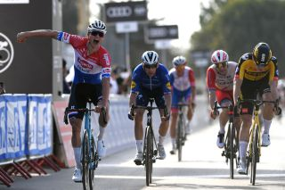 Mathieu van der Poel (Alpecin-Fenix) celebrates victory at the UAE Tour