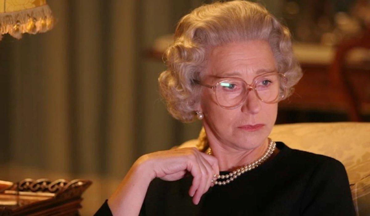 The Queen Helen Mirren watching TV as Queen Elizabeth II