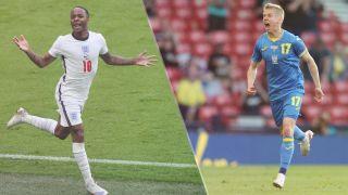 Ukraine vs England live stream at Euro 2020 — Raheem Sterling of England and Oleksandr Zinchenko of Ukraine
