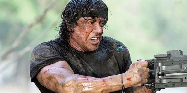 Sylvester Stallone firing a gun in Rambo III