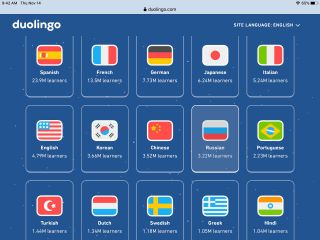 Duolingo screenshot: Tiles with flags and languages