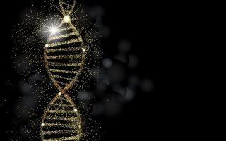 An illustration of a DNA molecule with gold glow.