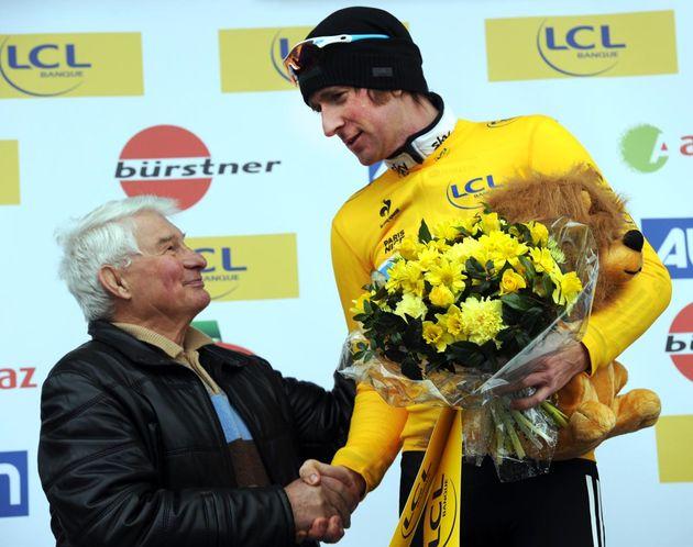 Bradley Wiggins and Raymond Poulidor, Paris-Nice 2012, stage three