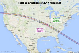 2017 Total solar eclipse path map