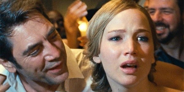 mother! Javier Bardem Jennifer Lawrence surrounded by a mad crowd