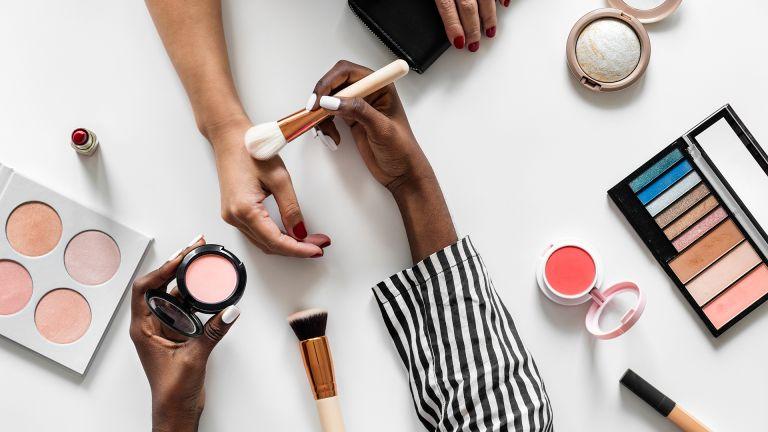 beauty products flatlay