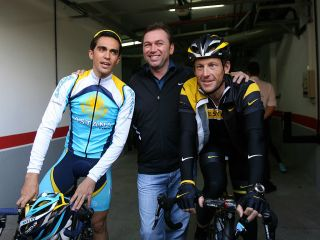 US cyclist Lance Armstrong R Spains Alberto Contador L and manager Johan Bruyneel of Astana Team pose before training on the Spanish Canary Island of Tenerife on December 5 2008 Seventime Tour de France winner Armstrong announced his comeback to cycling after a threeyear hiatus earlier this year Astana announced that the 37yearold Texan would race the Tour de France in 2009 having originally implied his focus would be on a maiden Tour of Italy instead AFP PHOTO Jaime REINA Photo credit should read JAIME REINAAFP via Getty Images