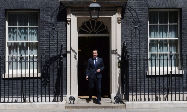 David Cameron stepping out of Downing Street