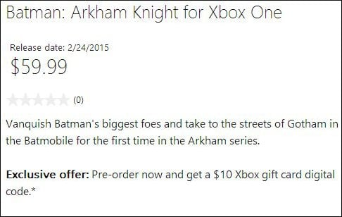 Xbox One release date for Batman: Arkham Knight