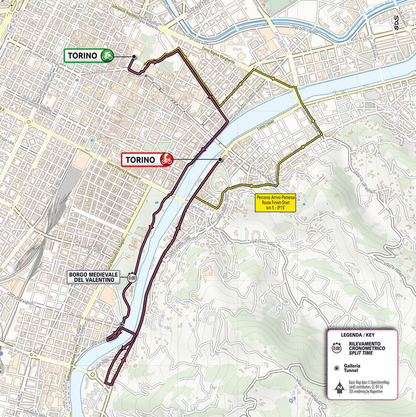 The map of the Turin time trial