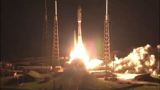 An unmanned Atlas V rocket carrying the U.S. Navy's Mobile User Objective System 4 satellite (MUOS-4) launches into space from Florida's Cape Canaveral Air Force Station in a pre-dawn liftoff on Sept. 2, 2015.